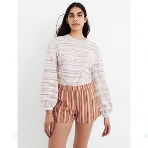 NWT Madewell Linen-Cotton Striped Pull-On Shorts